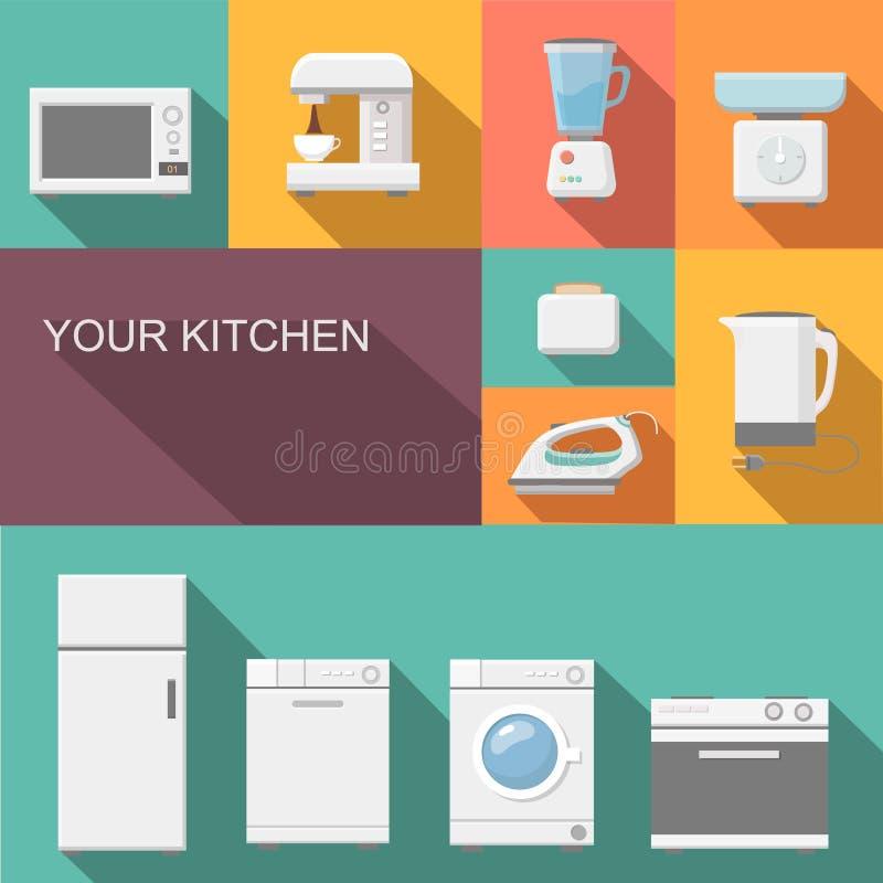 Reeks vlakke vectorpictogrammen van keukentoestellen royalty-vrije illustratie