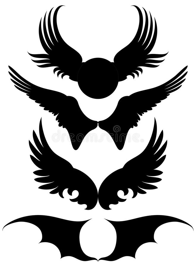 Reeks vleugels royalty-vrije illustratie