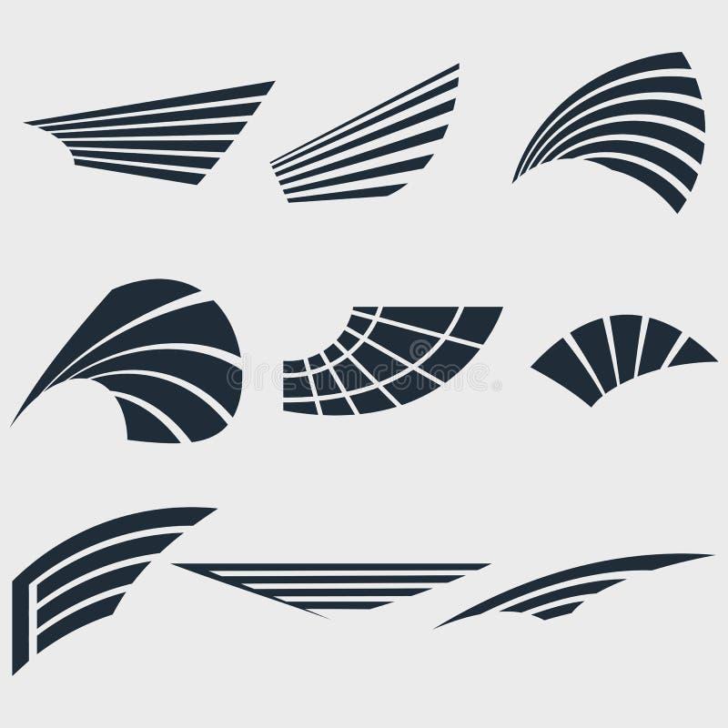 Reeks vleugels vector illustratie