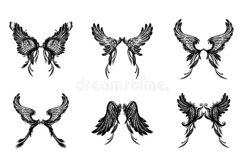 Reeks Vleugels, die op witte achtergrond wordt geïsoleerd royalty-vrije illustratie
