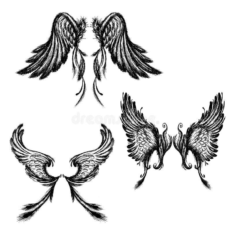 Reeks Vleugels, die op witte achtergrond wordt geïsoleerd vector illustratie