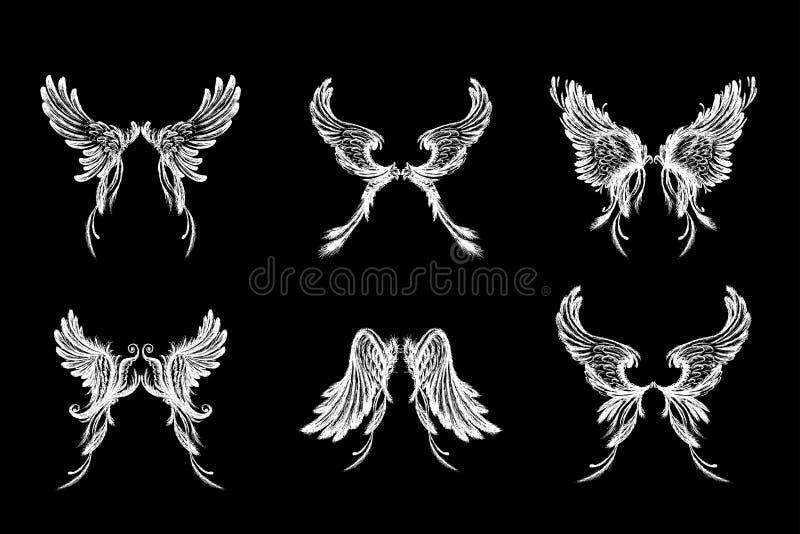 Reeks Vleugels, die op zwarte achtergrond wordt geïsoleerd vector illustratie