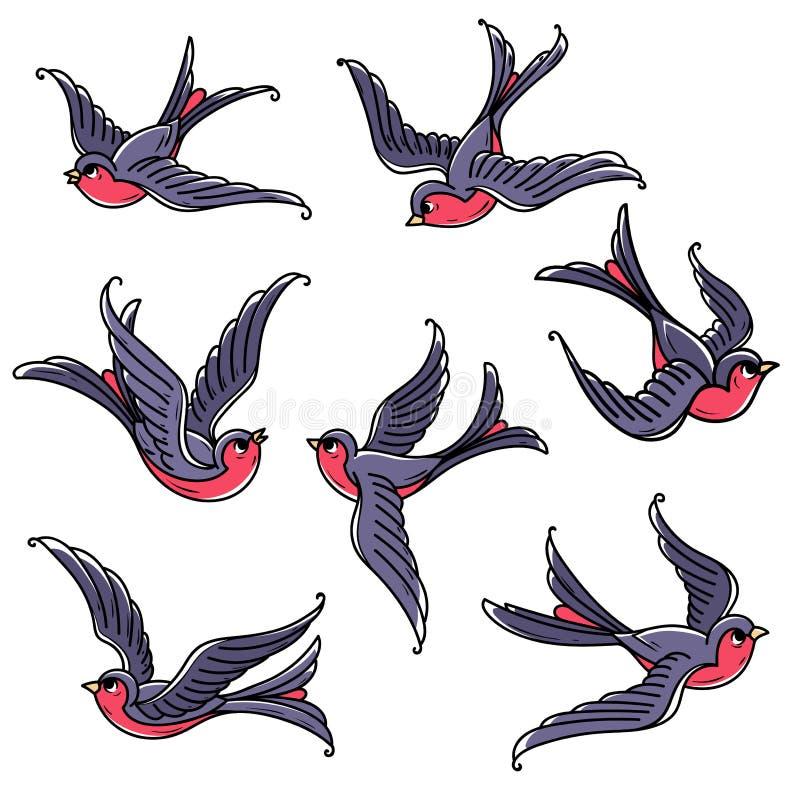 Reeks vliegende sialia Vrije vogels Symbool van geluk, welvaart, vertrouwen, liefde en komst van de lente vector illustratie