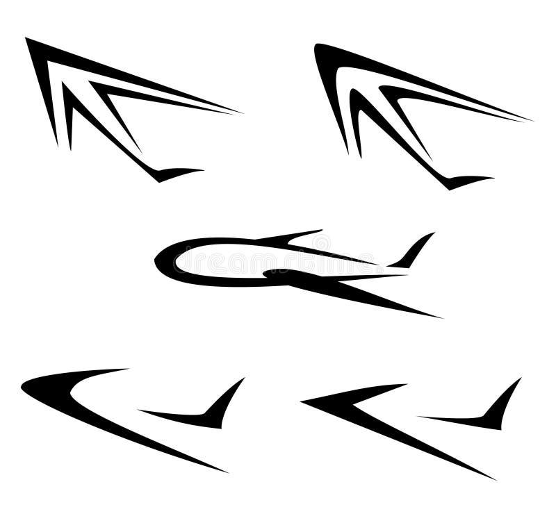 Reeks vliegende vliegtuigsymbolen vector illustratie