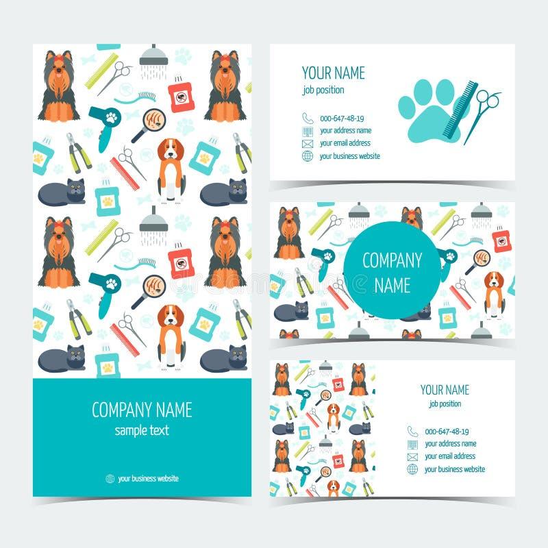 Reeks vlieger, brochure en adreskaartjes voor het dierlijke verzorgen Huisdier care Reeks promotieproducten Vlak Ontwerp Vector stock illustratie