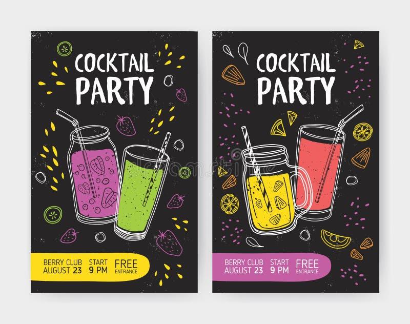 Reeks vlieger of cocktail partyuitnodigingsmalplaatjes met smakelijke binnen frisdranken of verfrissende tropische fruitdranken stock illustratie