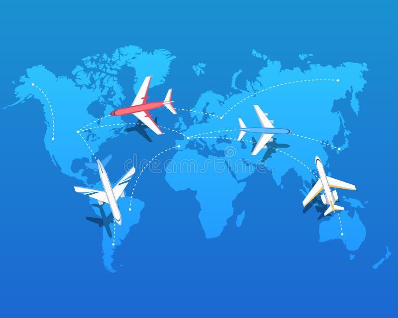 Reeks Vliegtuigen die over Wereldkaart vliegen Vector vector illustratie
