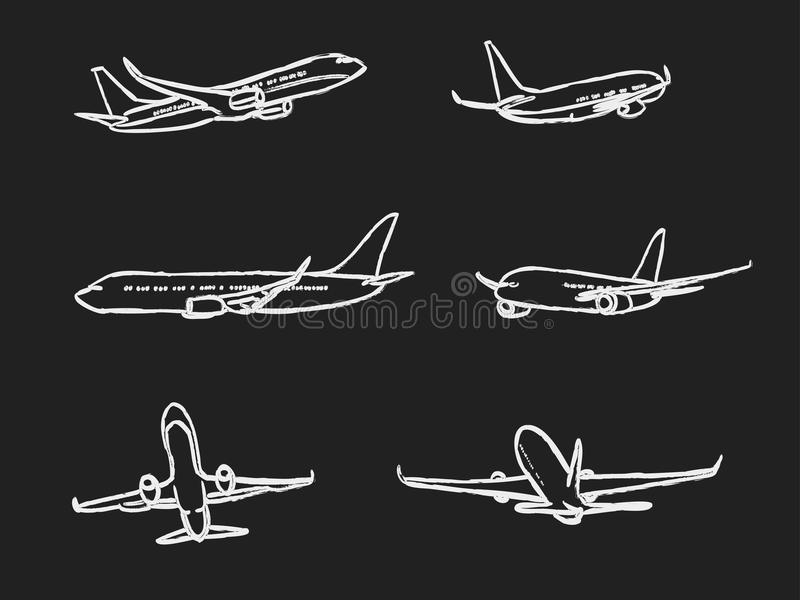 Reeks vliegtuigen van het overzichtskrijt voor Uw ontwerp vector illustratie