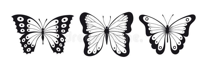 Reeks vlindersillhouettes stock illustratie