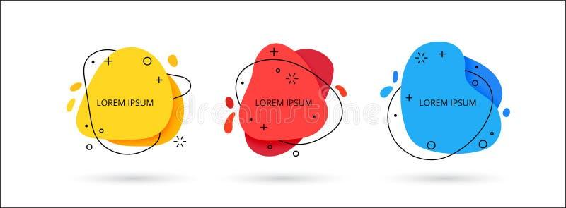 Reeks vloeibare vloeibare de gradiëntelementen van kleuren abstracte geometrische vormen vector illustratie