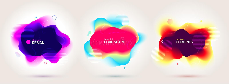 Reeks vloeibare kleuren abstracte geometrische vormen Vloeibare gradiëntelementen voor minimale banner, embleem, sociale post Fut royalty-vrije illustratie