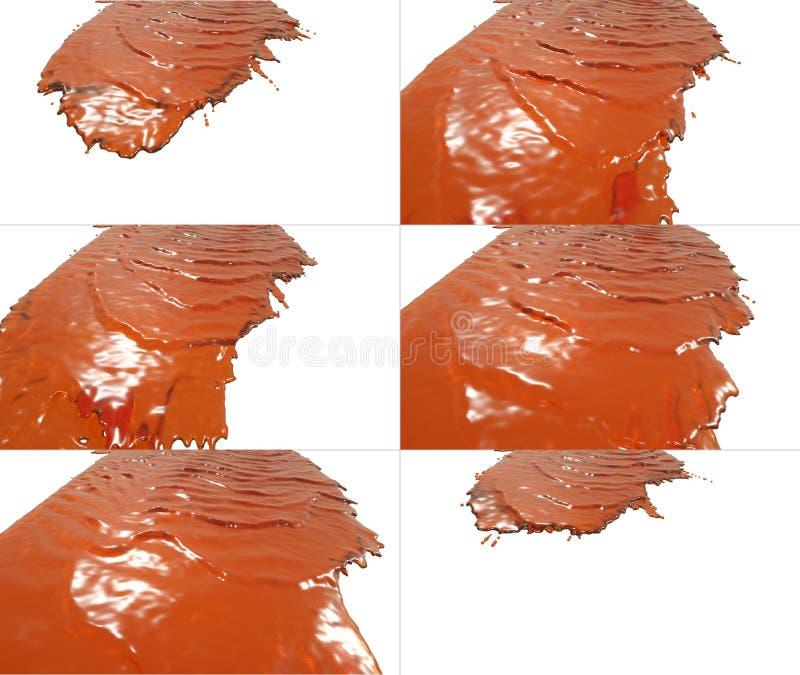 Reeks vloeibare stroomdalingen op oppervlakte vector illustratie