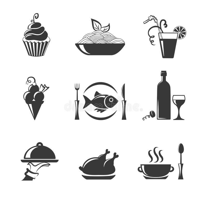 Reeks voedsel zwarte pictogrammen royalty-vrije illustratie