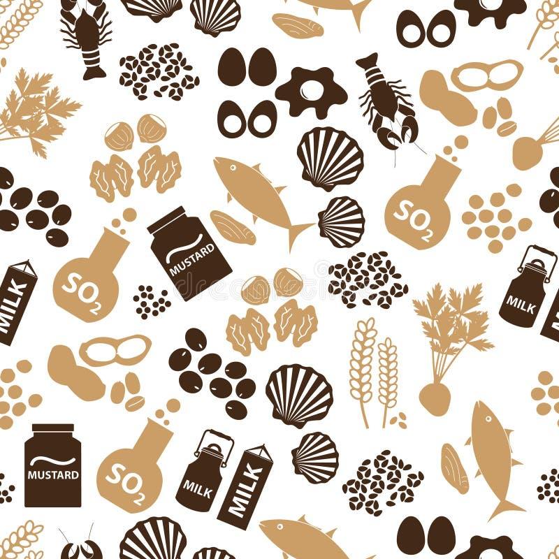 Reeks voedselallergenen voor restaurants naadloos patroon stock illustratie