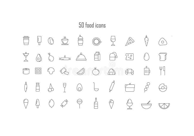 Reeks voedselpictogrammen royalty-vrije illustratie