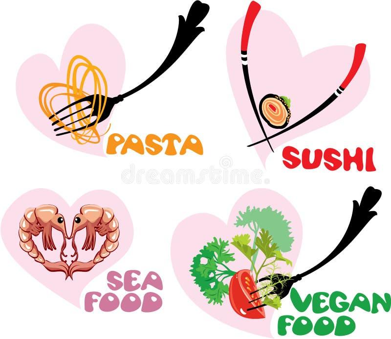 Reeks Voedselpictogrammen in hartenvormen: Japanse Cuisi vector illustratie