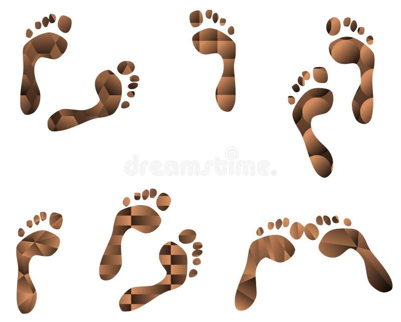 Reeks voetafdrukken met verschillende patronen royalty-vrije illustratie