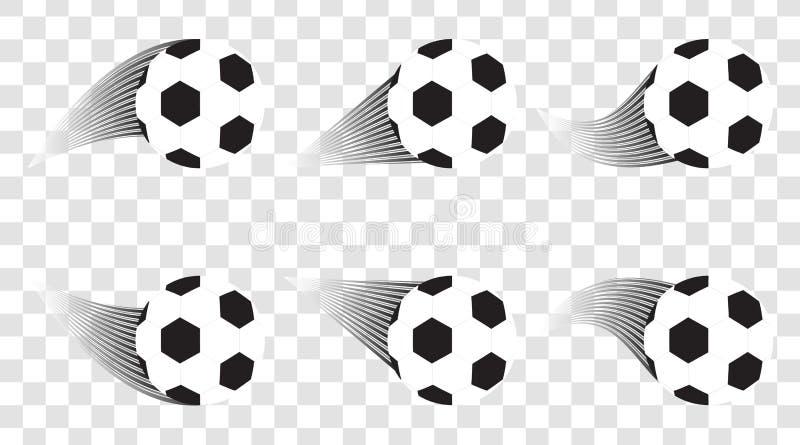 Reeks voetbalballen Voetbalschot doel Het malplaatje van het sportontwerp stock illustratie