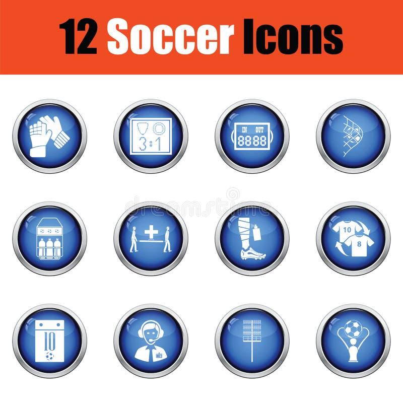 Reeks voetbalpictogrammen stock illustratie