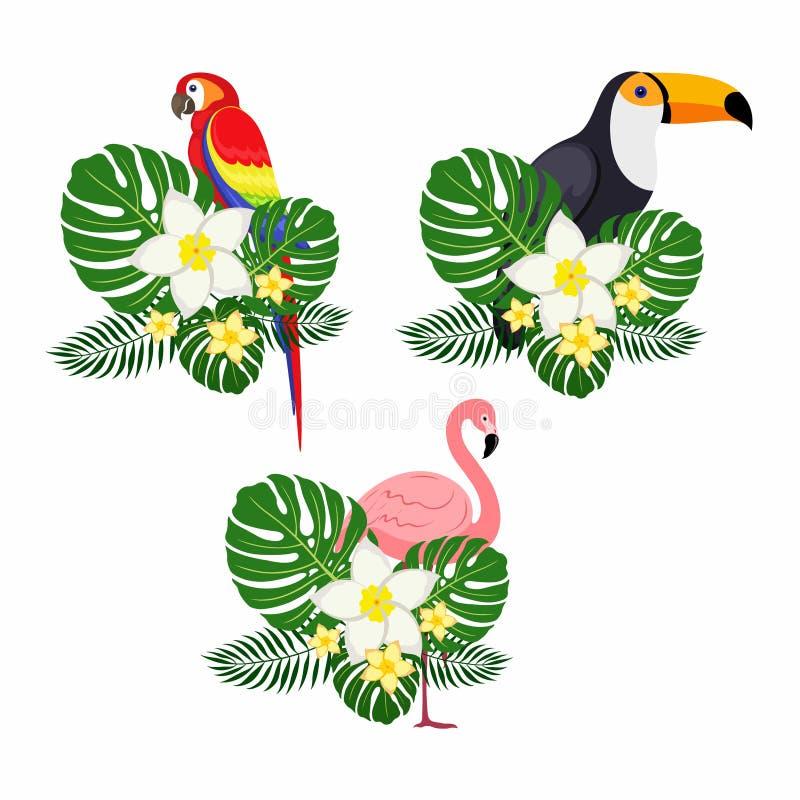 Reeks vogels met palmbladen op een witte achtergrond royalty-vrije stock foto
