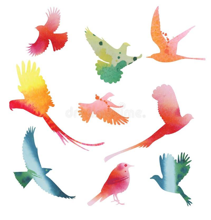 Reeks vogels tijdens de vlucht Waterverfsilhouetten stock illustratie