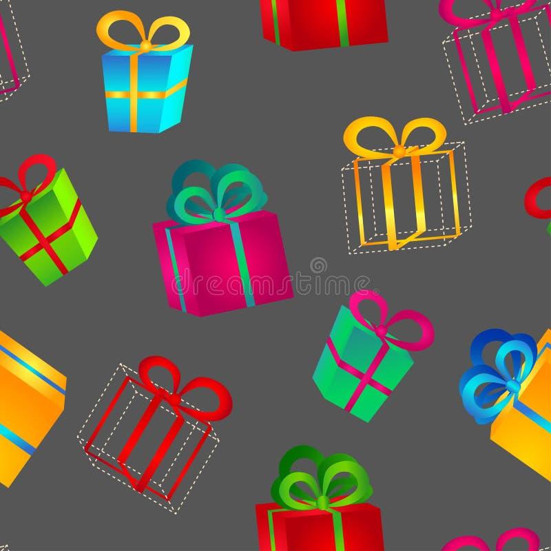 Reeks volumetrische heldere kleurrijke giftdozen met bogen voor verjaardag, Kerstmis of Nieuwjaar royalty-vrije illustratie
