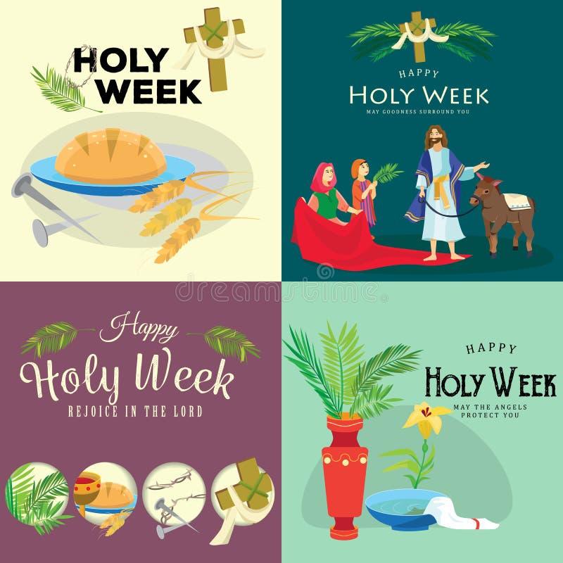 Reeks voor Christendom heilige week vóór Geleende Pasen, en Palm of Hartstochtszondag, Goede Vrijdagkruisiging van Jesus en van h royalty-vrije illustratie