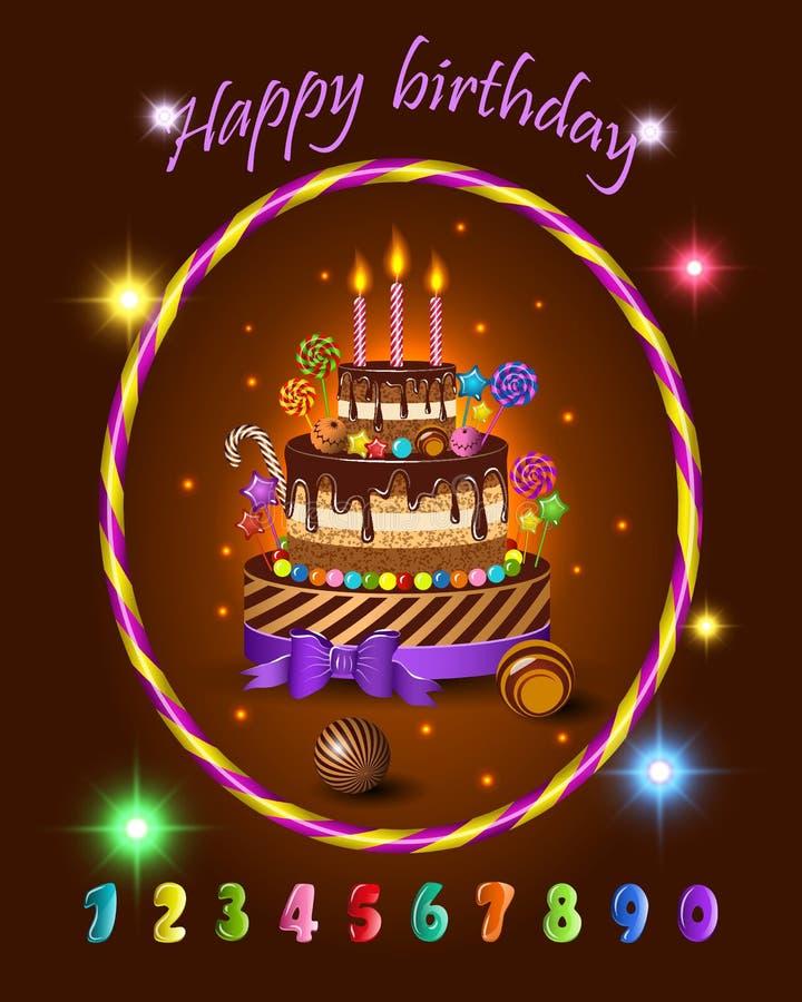 Reeks voor de verjaardagsviering van jonge geitjesbeeldverhalen, kinderen` s cake en snoepjes, suikergoed, kaarsen en vakantiefli vector illustratie