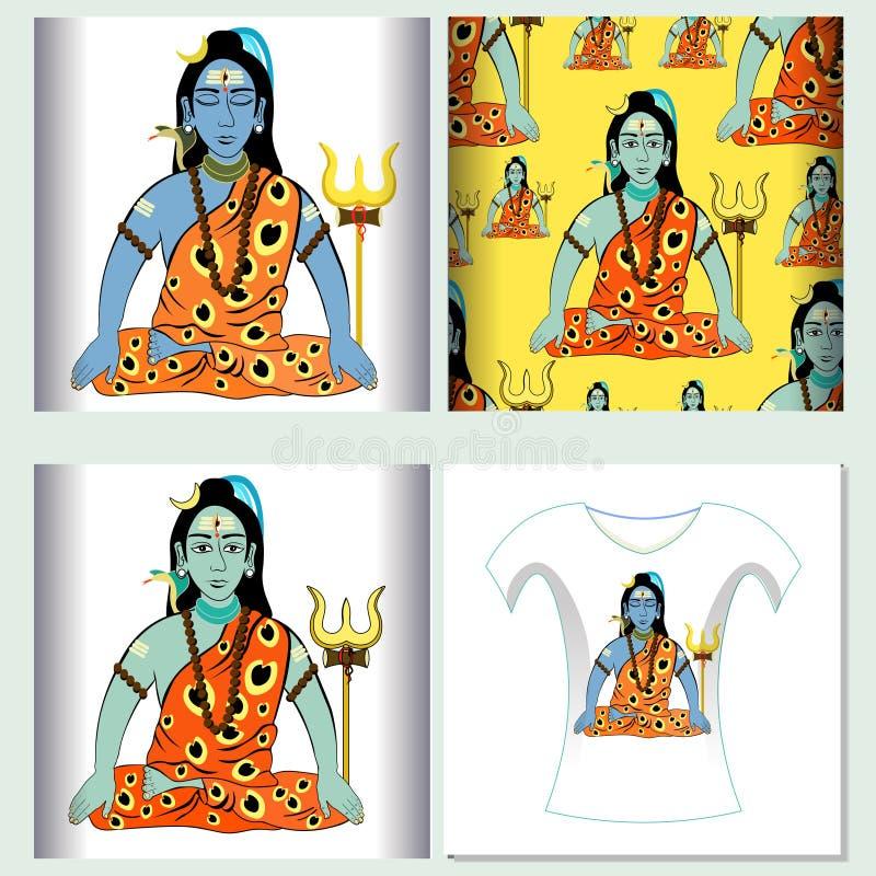 Reeks voor het naadloze patroon Shiva Mahadev India van het t-shirtontwerp met vector illustratie