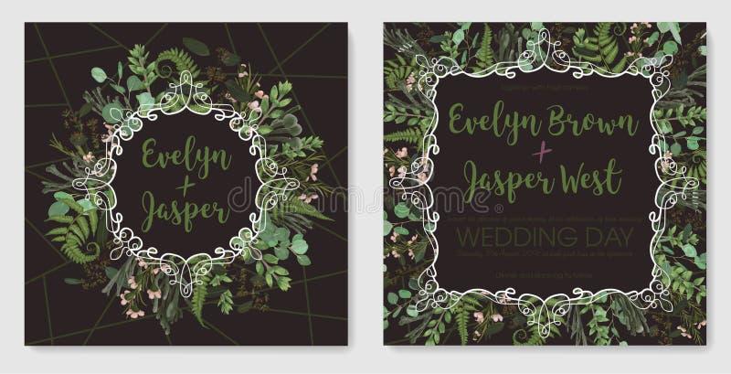 Reeks voor huwelijksuitnodiging, groetkaart, sparen datum, banner Uitstekend kader met groen varenblad, bukshout, brunia en eucal stock illustratie