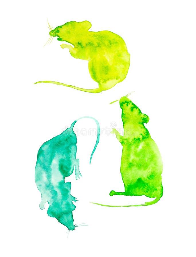 Reeks voor kalender van drie abstracte ratten r Reeks voor lentetijd: Maart, April, Mei De illustratie van de waterverf stock foto
