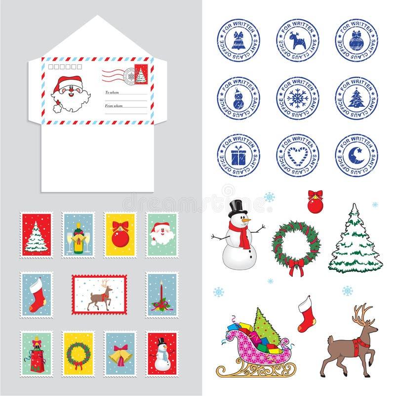 Reeks voor Kerstmisenvelop voor de brief aan Santa Claus, vectorillustratie royalty-vrije illustratie