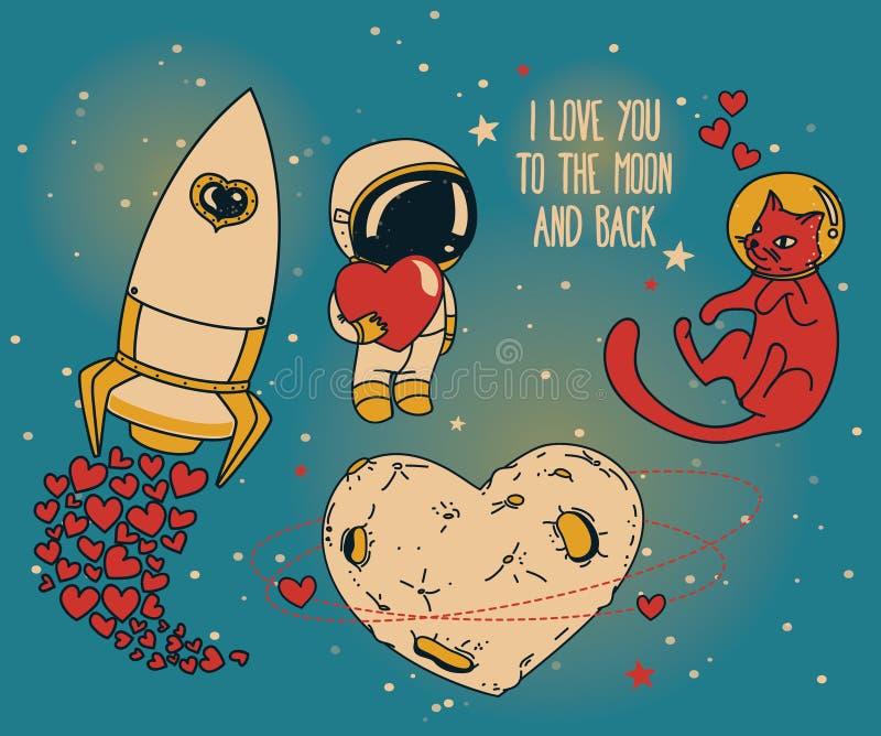 Reeks voor kosmische valentijnskaartendag royalty-vrije stock foto's