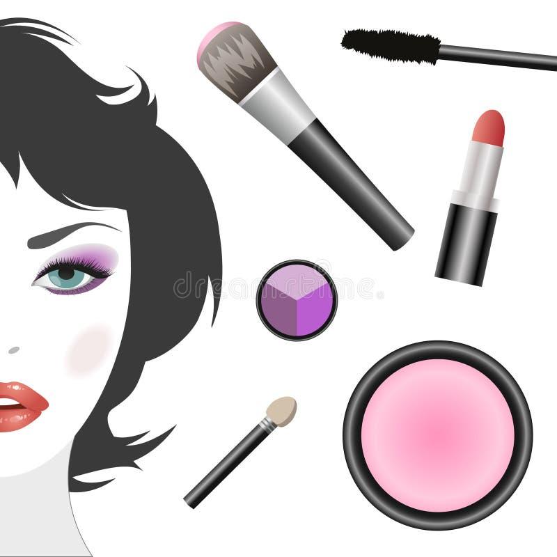 Reeks voor make-up en vrouwelijk gezicht stock illustratie