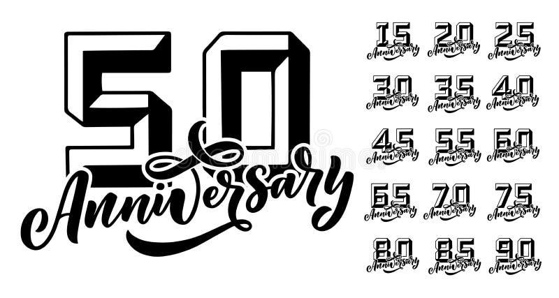 Reeks voor Partijuitnodiging 50 van de verjaardagsjaar viering Vectorontwerpconcept De kaartmalplaatje van de groet De ceremonie  stock illustratie