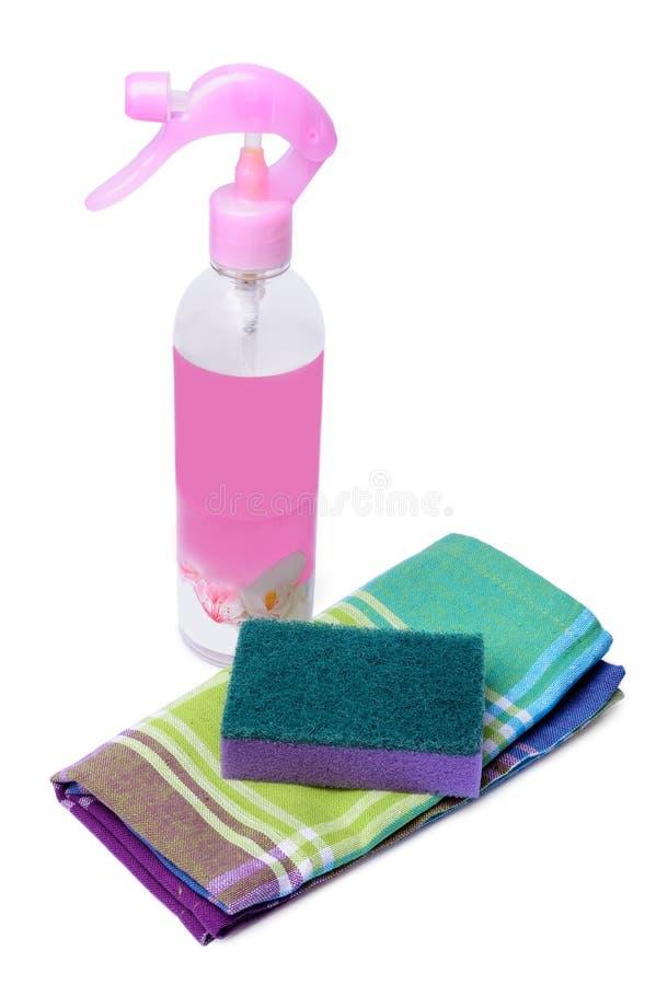 Reeks voor schoonmaken geïsoleerds op wit stock fotografie