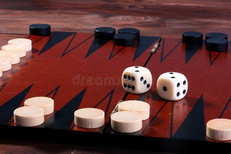 Reeks voor spel in een backgammon stock foto