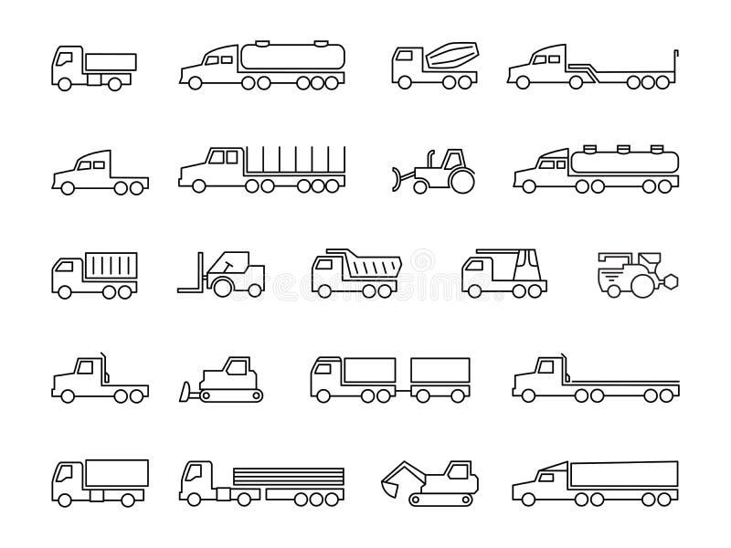 Reeks voor u ontwerp Vrachtwagens, tractoren, leveringsaanhangwagens, lading trukcs, kipwagens en de zware pictogrammen van de ma royalty-vrije illustratie