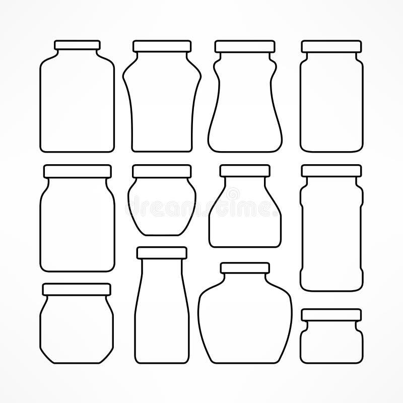 Reeks voorgestelde glaskruiken vector illustratie
