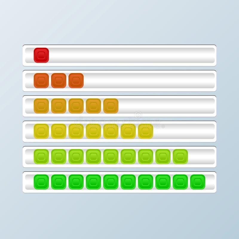 Reeks Vooruitgangsbars Ladingsindicatoren Vector illustratie vector illustratie