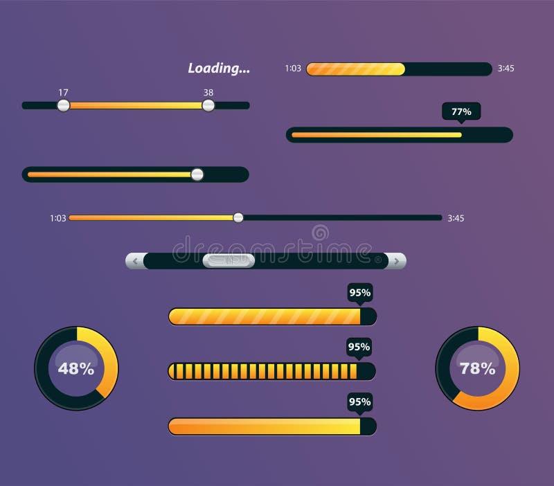 Reeks vooruitgangsbars met percentages stock illustratie