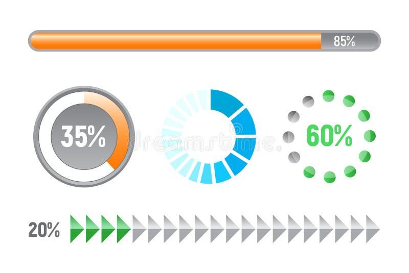 Reeks vooruitgangsbars, vlak ontwerp vector illustratie
