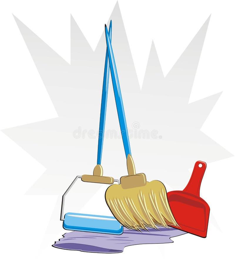 Reeks voorwerpen voor schoonmaken van flat vector illustratie