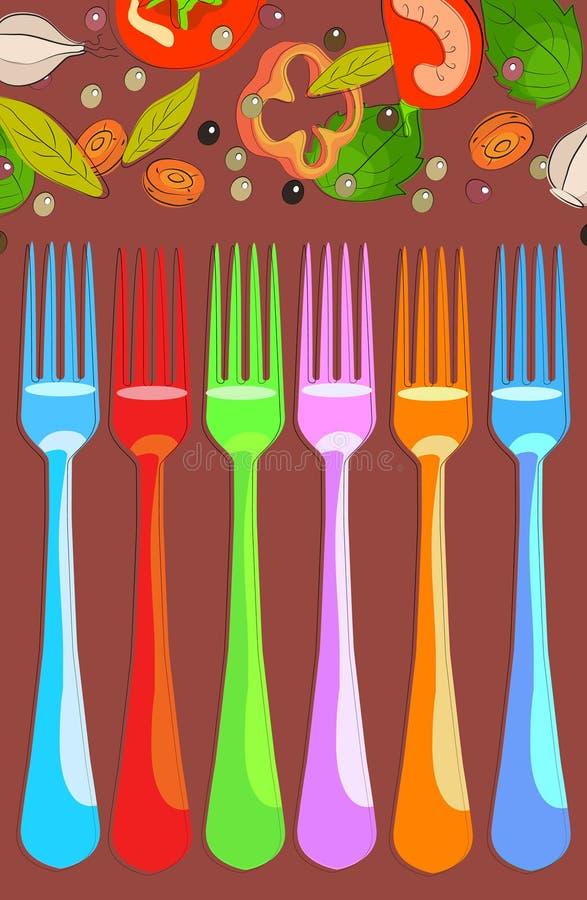 Reeks vorken met groenten royalty-vrije illustratie