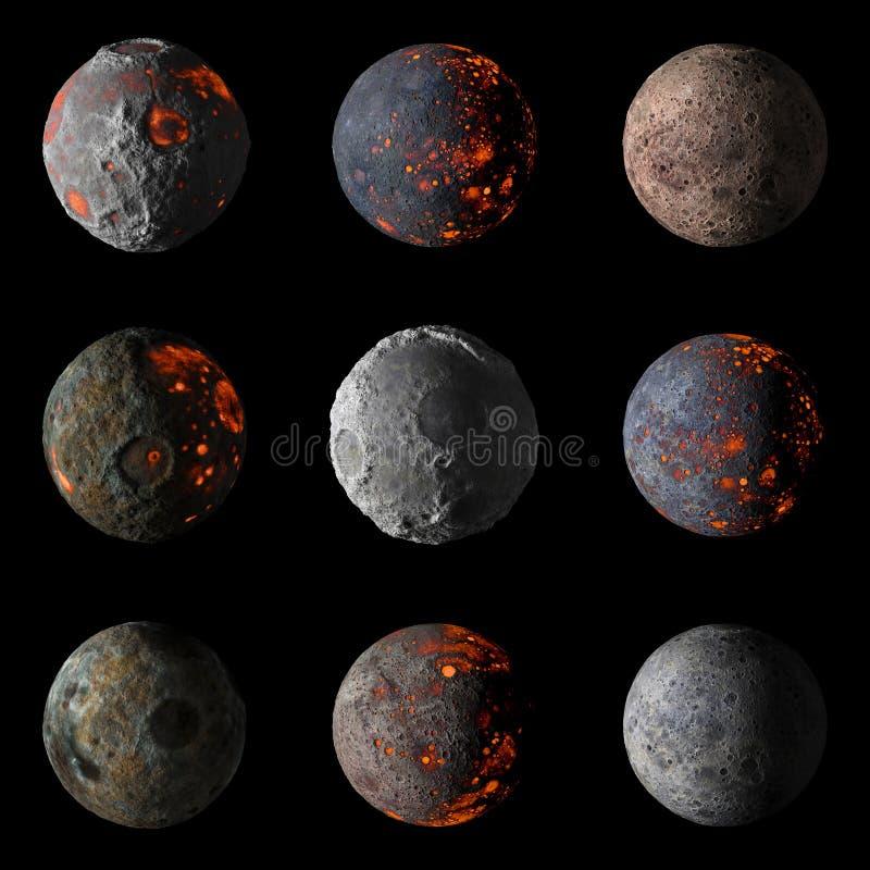 Reeks Vreemde hete planeten bij het zwarte 3d teruggeven als achtergrond stock illustratie