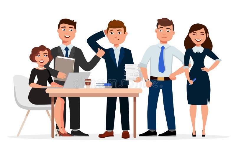 Reeks vrolijke karakters van het bedrijfsmensenbeeldverhaal Collega's bij zich de vergadering, de bedrijfsvrouwen en zakenlieden  stock illustratie