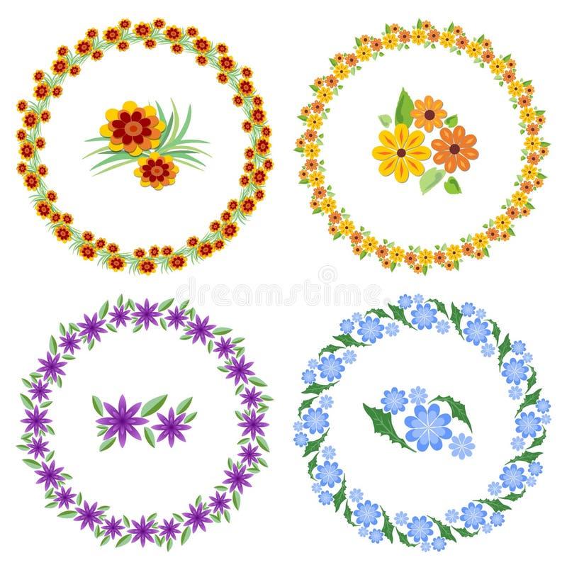 Reeks vrolijke mooie multicolored kronen en bloemmotieven Ontwerpelementen voor de lente en Pasen-ontwerp leuk vector illustratie