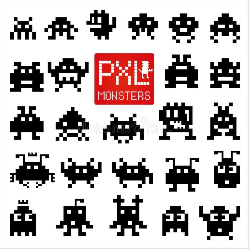Reeks vrolijke pixelmonsters royalty-vrije illustratie