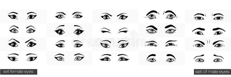 Reeks vrouwelijke en mannelijke meningen van het oog stock illustratie