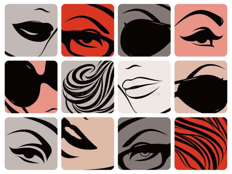 Reeks vrouwelijke gezichtsdelen. Vector illustratie. vector illustratie